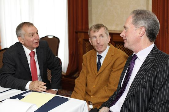 Professor Patrick Wall, centre, UCD was the guest speaker at the recent NIGTA quarterly meeting and he is pictured talking to Owen Brennan, right, President, NIGTA and Robin Irvine, NIGTA. Picture: Columba O'Hare