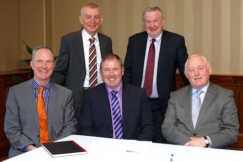 Office Bearers at the Northern Ireland Grain Trade Association AGM. From left Owen Brennan, immediate past President; Robin Irvine, Chief Executive; Alan Johnston, President; Stephen Burrell, Honorary Treasurer and David Malseed, Honorary Secretary. Photograph: Columba O'Hare