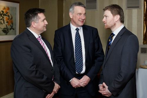Colin McDonald, centre, Chief Executive, RUAS, Guest Speaker at the NI Grain Trade AGM chats with Declan Billington, past president NIGTA and David Mawhinney, NIGTA. Photograph: Columba O'Hare