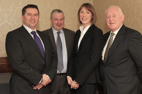 The new Northern Ireland Grain Trade Association President Claudine Heron pictured with Declan Billington, Immediate Past President; Stephen Burrell, Honorary Treasurer and David Malseed, Honorary Secretary.