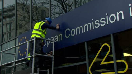 The signs came down as the EU closed its office in Belfast – while Northern Ireland businesses continue to trade freely throughout the EU and remain subject to many of its regulations they have no direct engagement with Brussels in relation to the detailed operation of the N Ireland protocol.