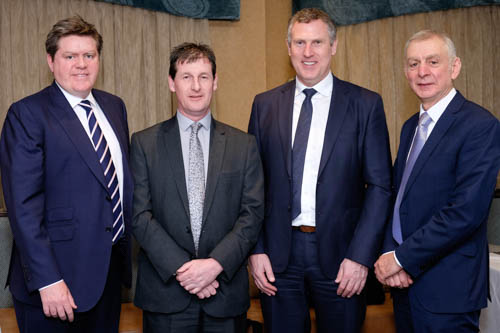 Wesley Aston, second from left, Chief Executive, UFU was the guest speaker at the NI Grain Trade Association quarterly meeting and is pictured here with, from left: Michael McAree, Vice President, NIGTA;  Keith Agnew, President, NIGTA and Robin Irvine, Chief Executive, NIGTA. Photograph: Columba O'Hare