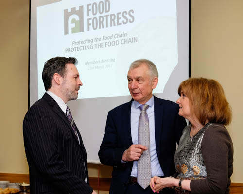 Simon Haughey, Queen's University Belfast; Robin Irvine, Food Fortress and Linda Jamison, Invest NI at the Food Fortress Members Meeting in Armagh. Photograph: Columba O'Hare