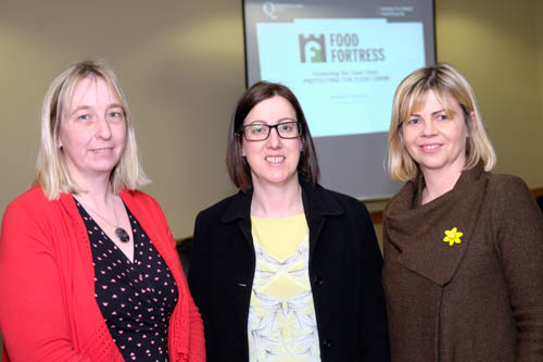 Alison Lowhan, John Thompson and Sons; Mary Preston, Moy Park and Amanda Keys, Devenish Nutrition, at the Food Fortress Members Meeting in Armagh. Photograph: Columba O'Hare