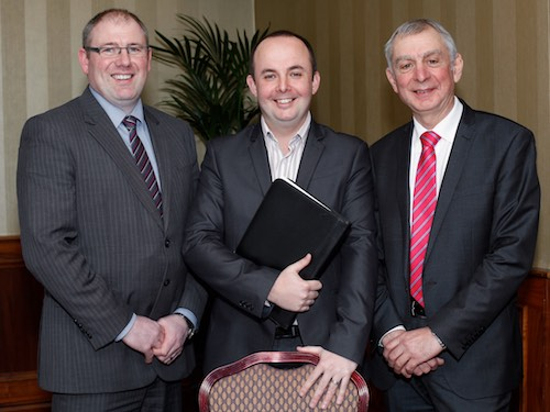 Guest Speaker at the NIGTA AGM was Jude McCann, centre who is pictured with Grain Trade President Alan Johnston and Chief Executive Robin Irvine. Photograph: Columba O'Hare