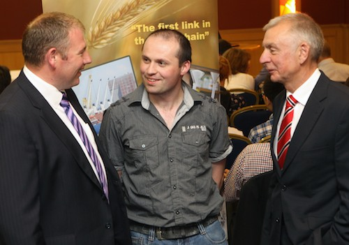 ​Alan Johnston left Moy Park who is also NIGTA President and Robin Irvine, right Chief Executive NIGTA chat to Gerard Meehan, Corby Rock